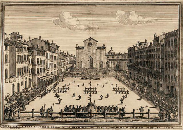 A game of Calcio Fiorentino played in 1688.