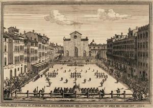 A game of Calcio Fiorentino played in 1688.