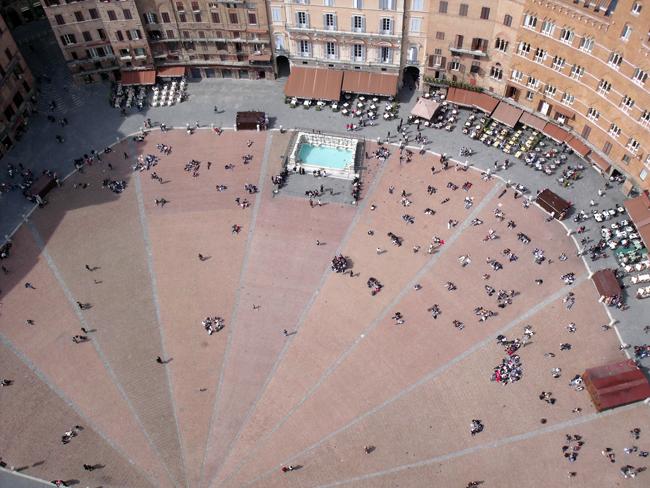 Piazza del Campo - Siena, Italy - Aerial View