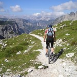 Traveling through the Dolomites via mountain bike