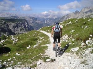 Traveling through the Dolomites via mountain bike