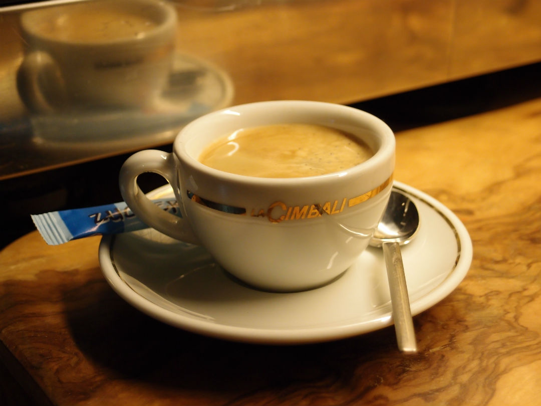 Cup of espresso on table