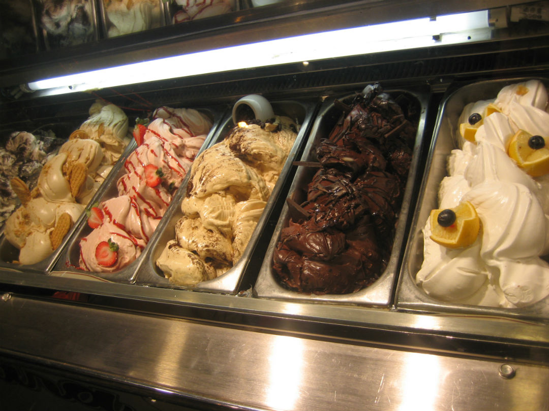 Gelato ice cream being sold in a dessert shop